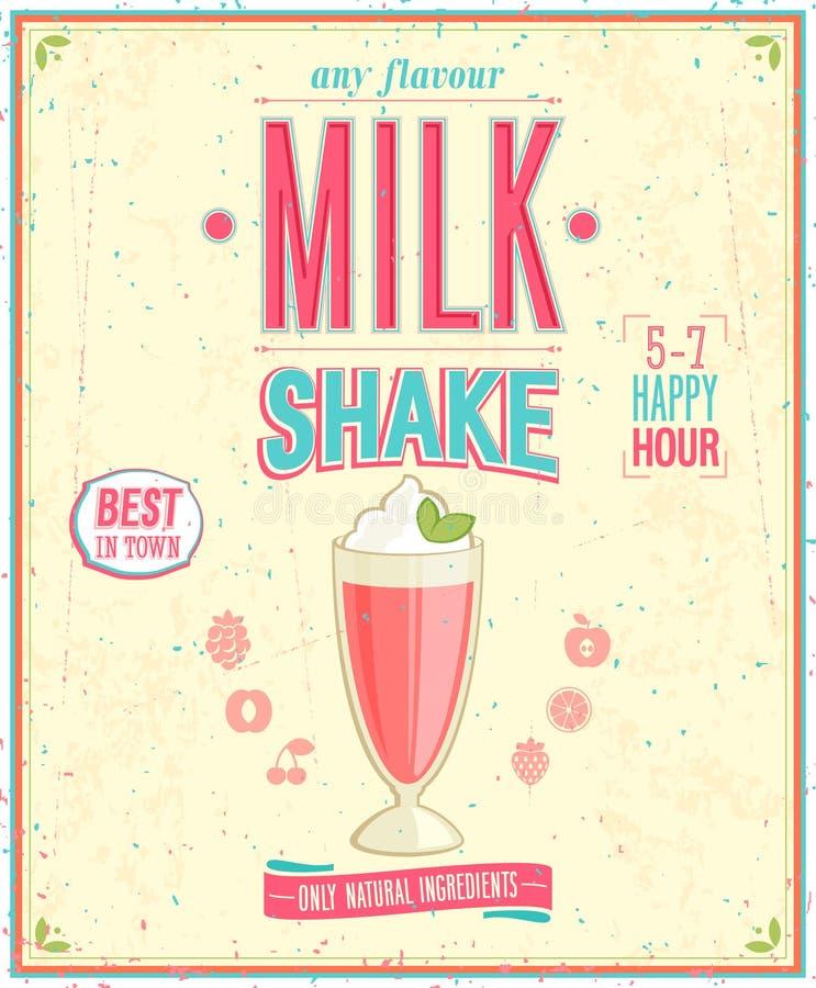 Винтажный плакат MilkShake. иллюстрация вектора