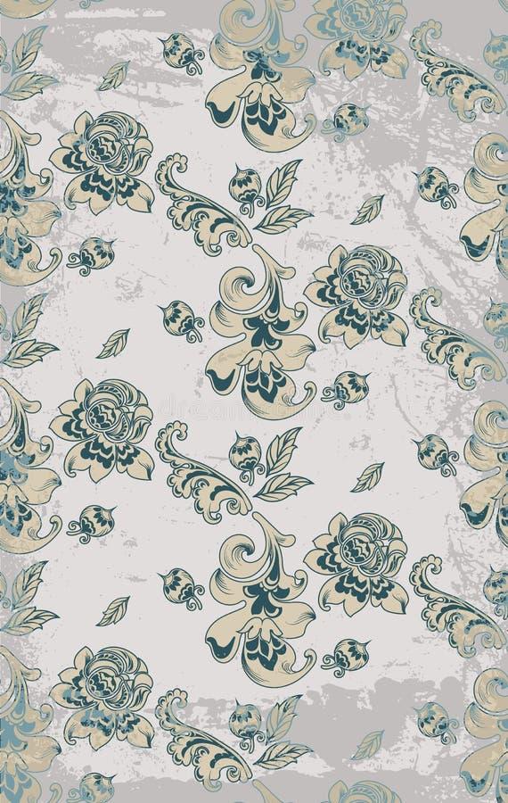 Винтажный ретро вектор картины штофа роз Украшение роскошной предпосылки орнамента флористическое Влияния grunge пастельного цвет иллюстрация штока