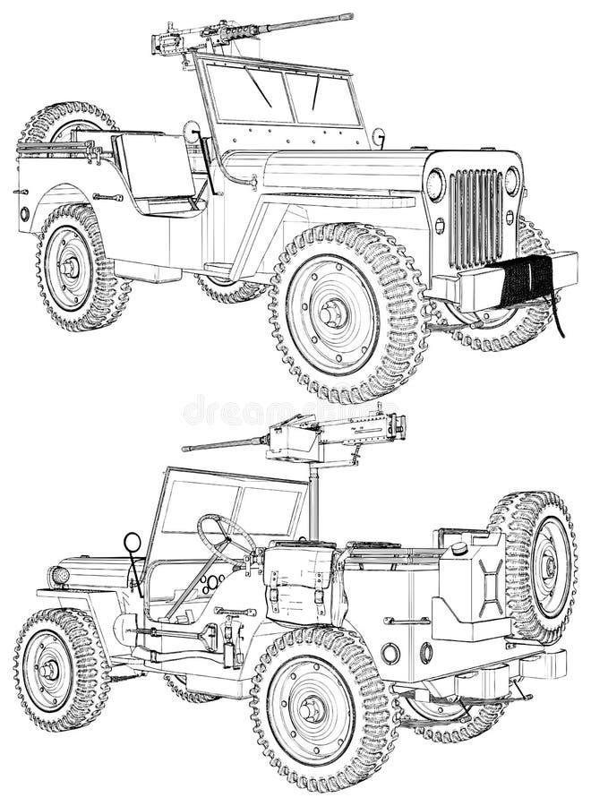 Винтажный ретро воинский автомобиль с пулеметом на белом векторе 01 предпосылки бесплатная иллюстрация