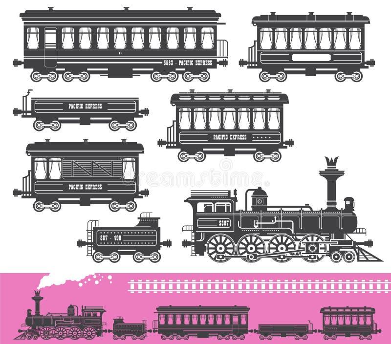 Винтажный ретро комплект поезда иллюстрация вектора