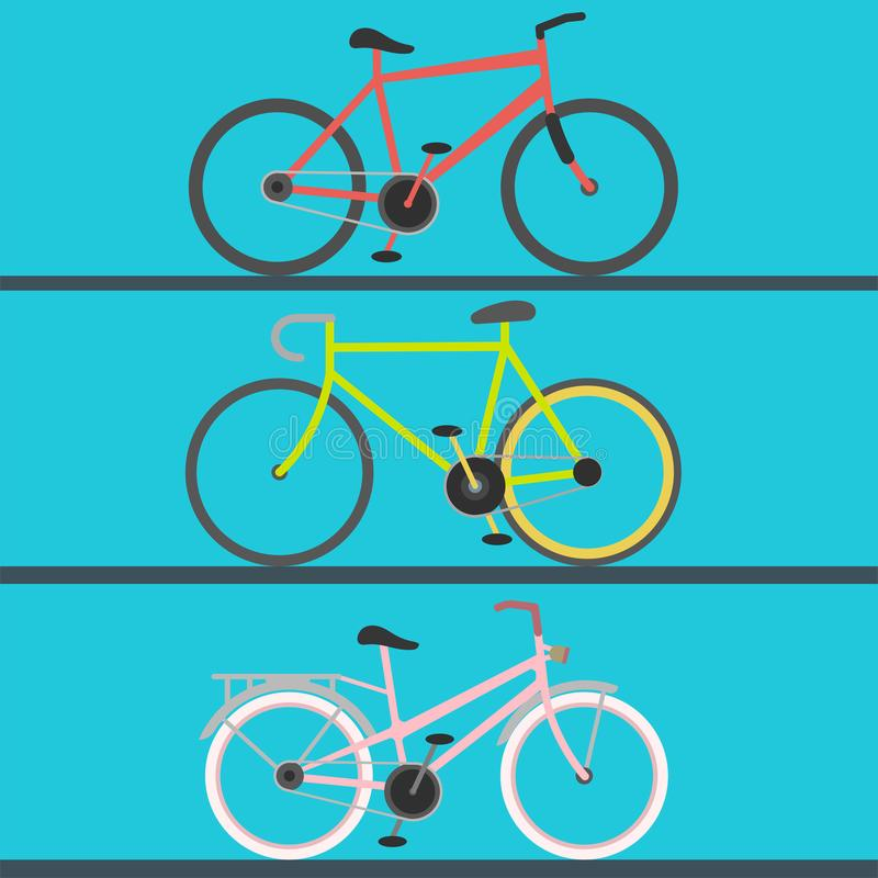 Винтажный ретро переход велосипеда велосипеда и grunge моды спорта стиля катания вектора езды педали античного старого плоский иллюстрация вектора