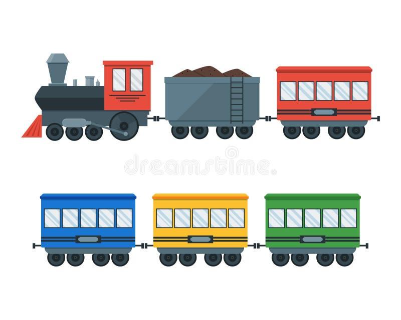 Винтажный ретро поезд транспорта вектор иллюстрация штока