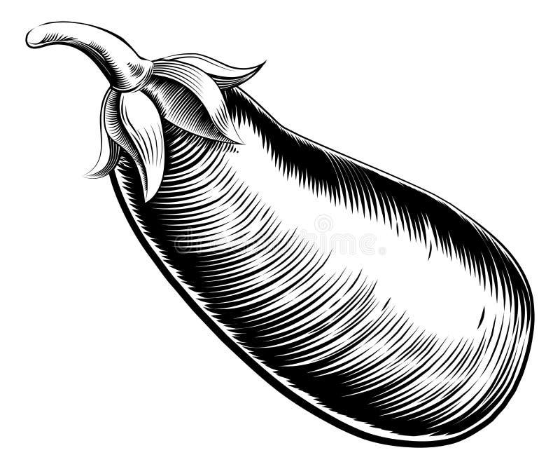 Винтажный ретро brinjal или aubergine баклажана иллюстрация штока