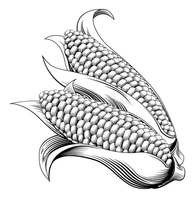 Винтажный ретро sweetcorn woodcut иллюстрация штока