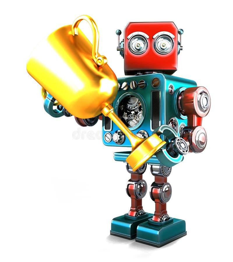 Винтажный робот держа трофей изолировано Содержит путь клиппирования иллюстрация вектора