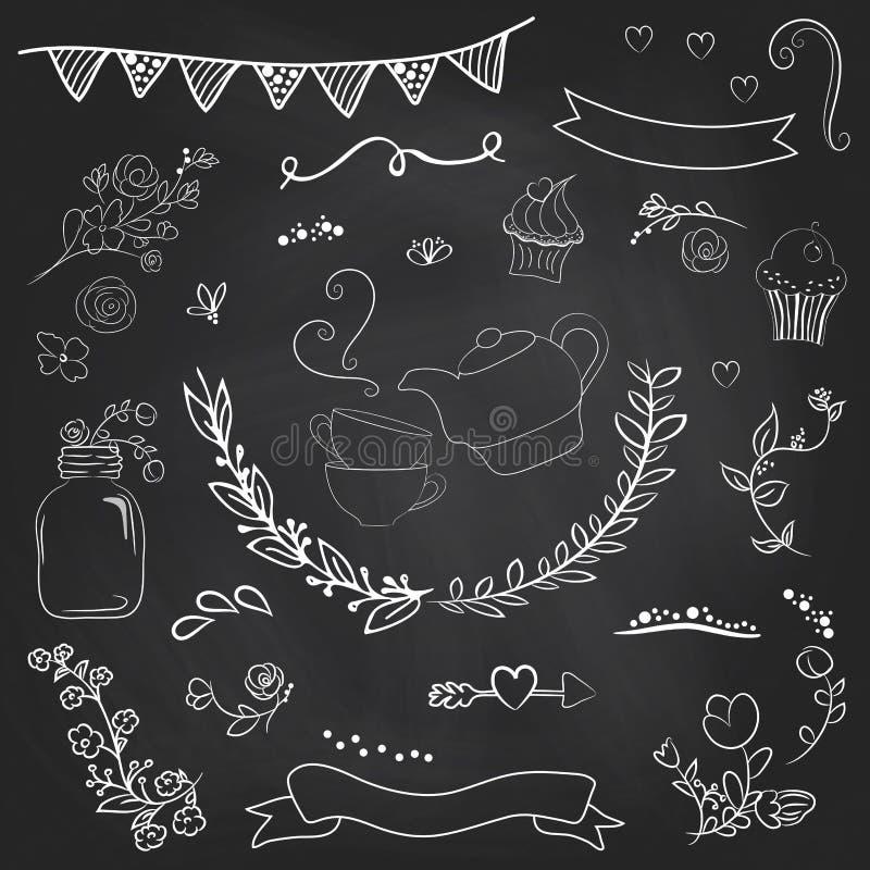 Винтажный романтичный комплект в векторе Стильные романтичные элементы для PA иллюстрация штока