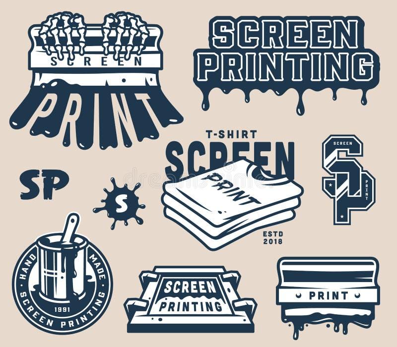 Винтажный светлый комплект элементов печатания экрана иллюстрация штока
