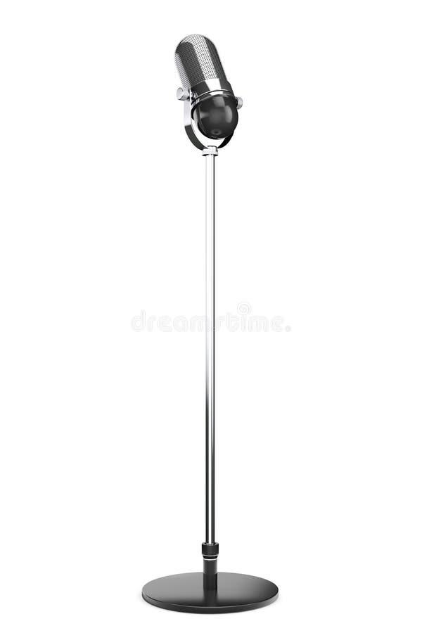 Винтажный серебряный микрофон стоковая фотография rf