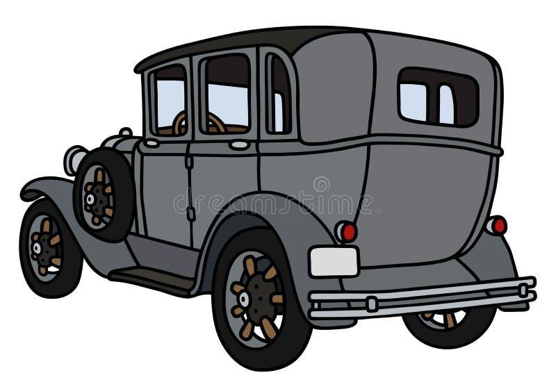 Винтажный серый автомобиль иллюстрация вектора
