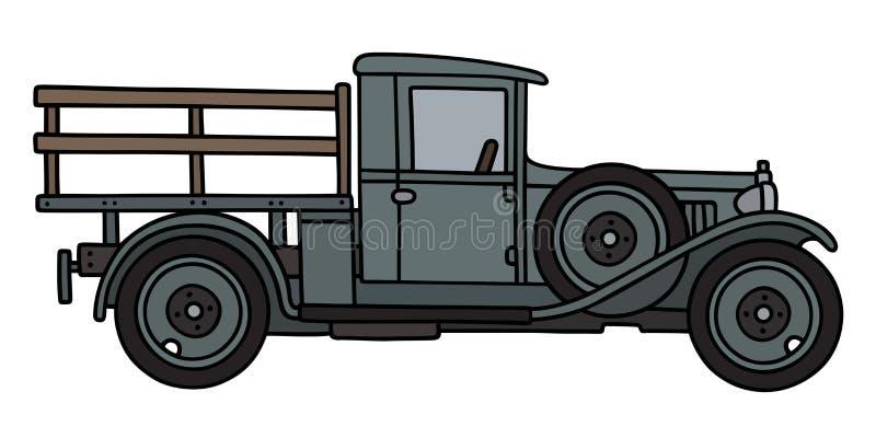 Винтажный серый грузовик иллюстрация штока