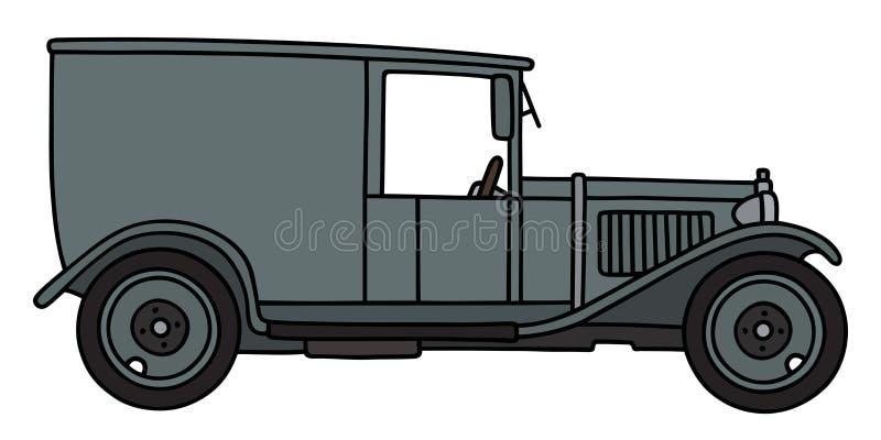 Винтажный серый фургон иллюстрация вектора