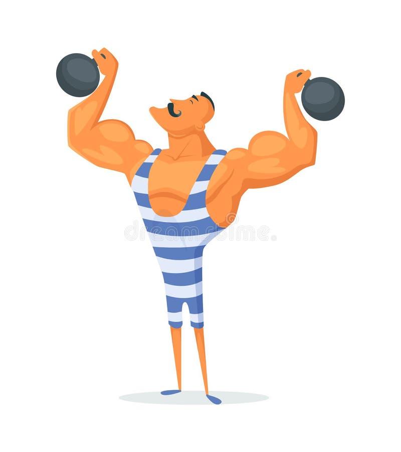 Винтажный сильный человек Старый спортсмен Ретро штанга культуриста Сильный актер цирка силы иллюстрация вектора