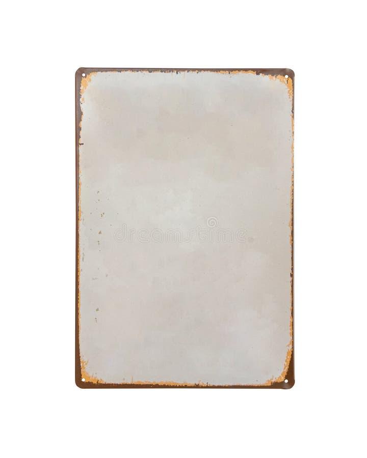 Винтажный старый белый изолят знамени металлического листа на белой предпосылке стоковое фото