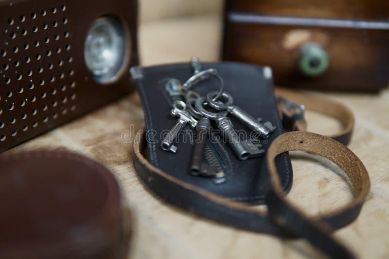 Винтажный старый ключевой мешок стоковое фото rf