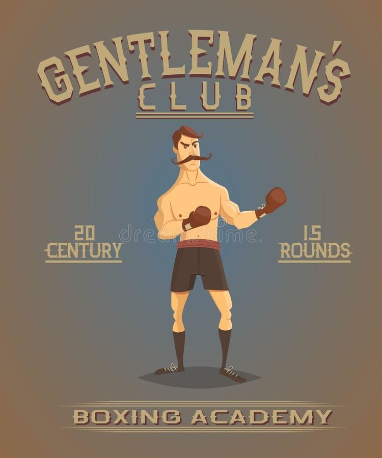Винтажный старый плакат с боксером иллюстрация штока