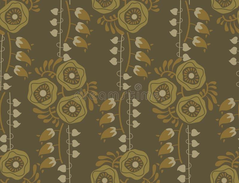 Винтажный стиль nouveau искусства цветочного узора бесплатная иллюстрация