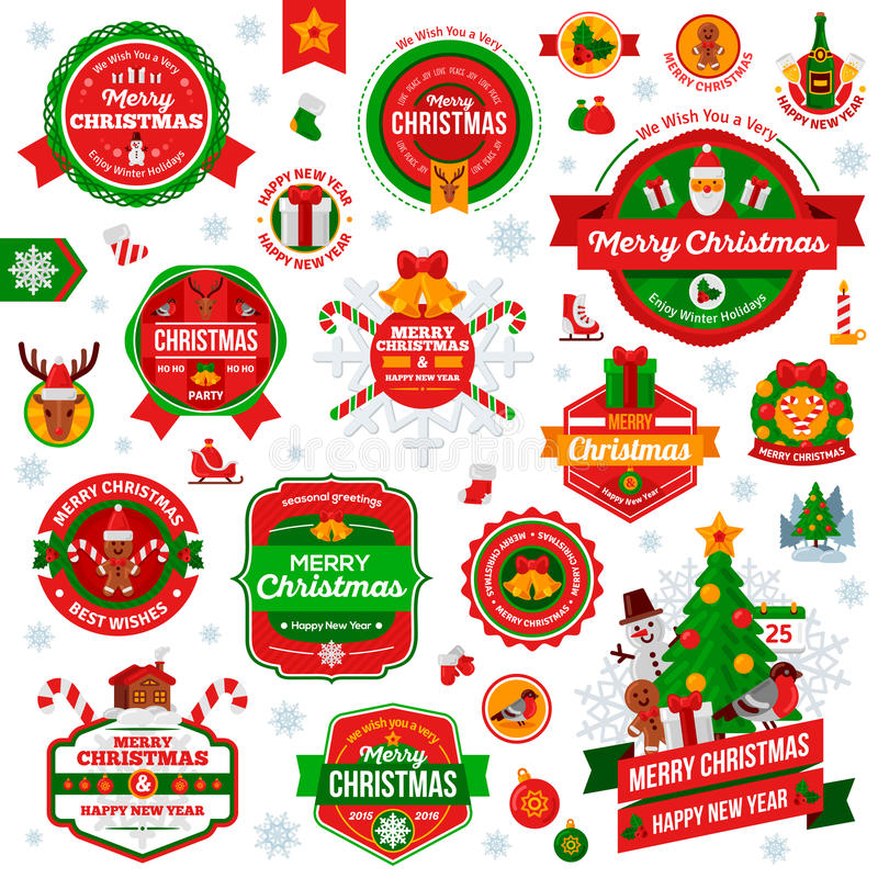 Винтажный счастливый Новый Год и с Рождеством Христовым значки и ярлыки бесплатная иллюстрация