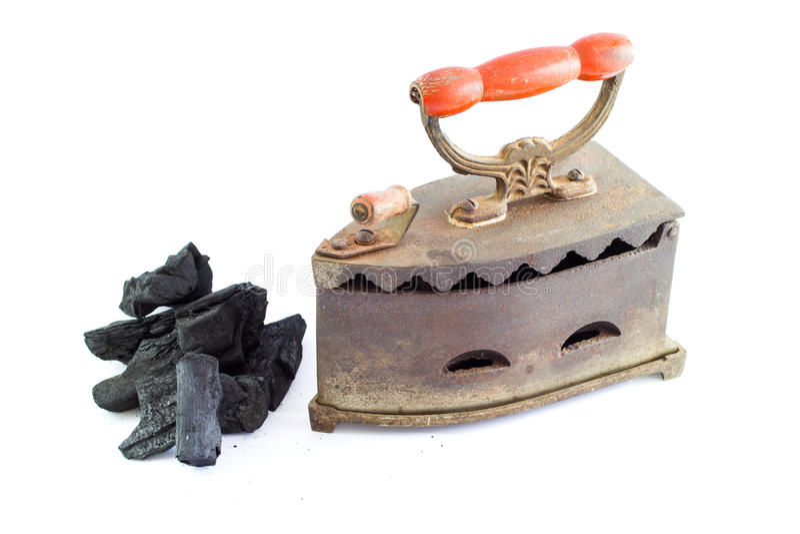 Винтажный утюг угля стоковое фото rf