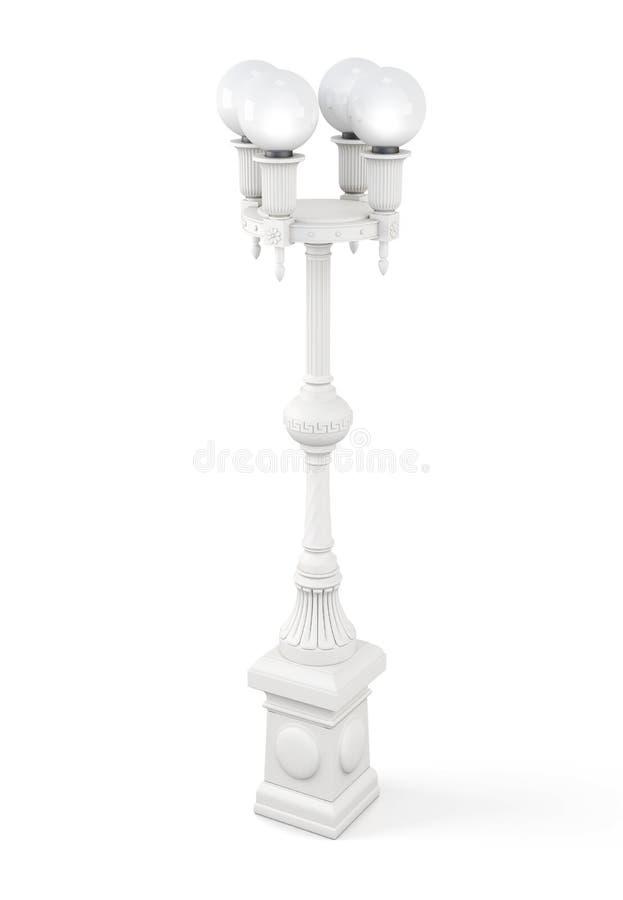 Винтажный уличный фонарь на белой предпосылке перевод 3d иллюстрация вектора