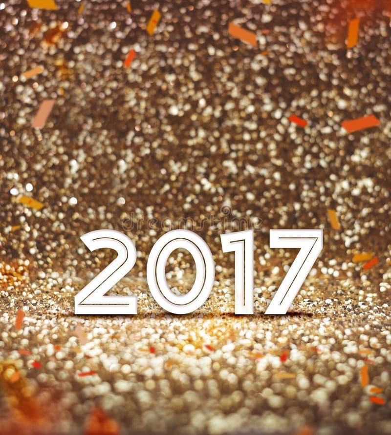 Винтажный фильтр: счастливый Новый Год номер 2017 год с confetti a стоковые изображения rf