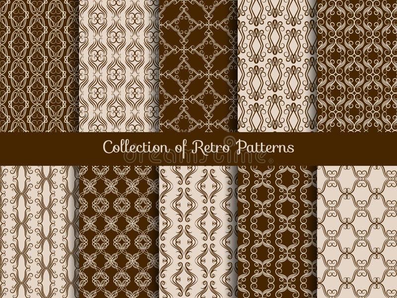 Винтажный флористический безшовный комплект картины Ретро азиатские образцы плитки на предпосылке sepia иллюстрация штока