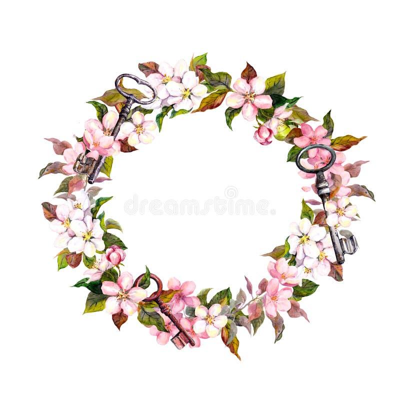 Винтажный флористический венок с весной цветет, пер, ключи Граница акварели круглая стоковое фото