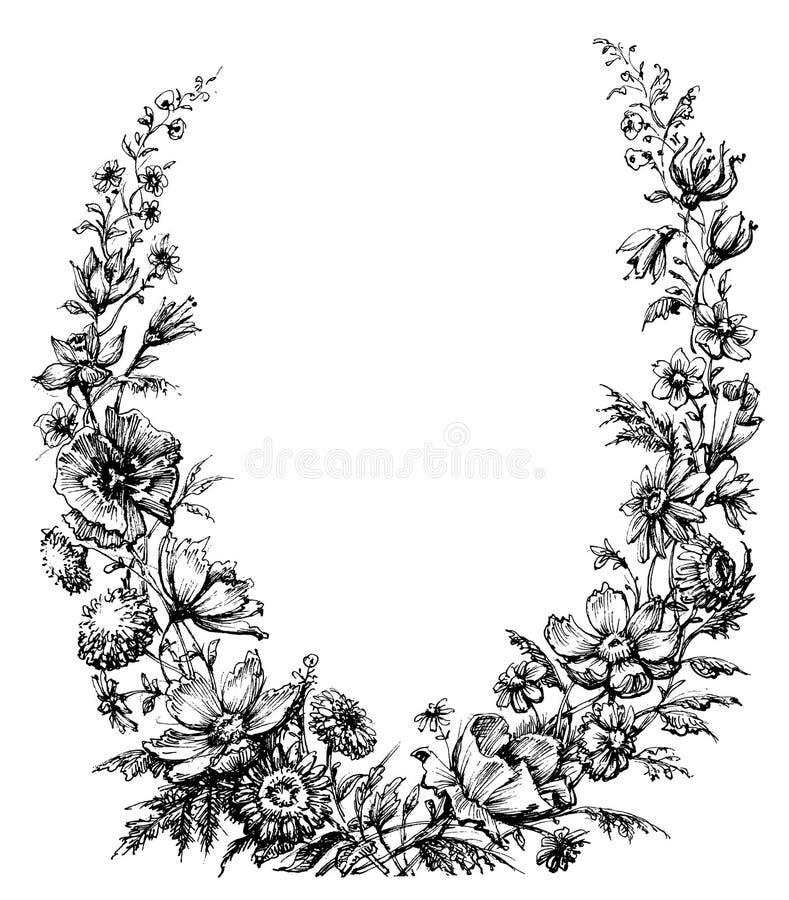 Винтажный флористический венок бесплатная иллюстрация
