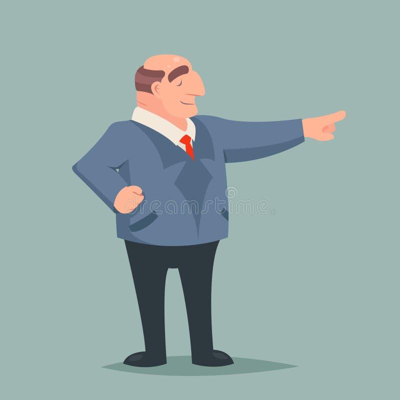 Винтажный характер руководителя большого босса бизнесмена искусства указывает значок богатства успеха процветания пути на стильно иллюстрация штока