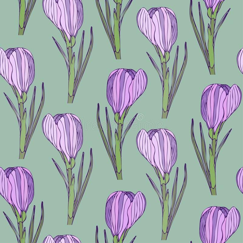 Винтажный цветочный узор с красивыми цветками Vector безшовная картина для ткани или керамического дизайна иллюстрация штока