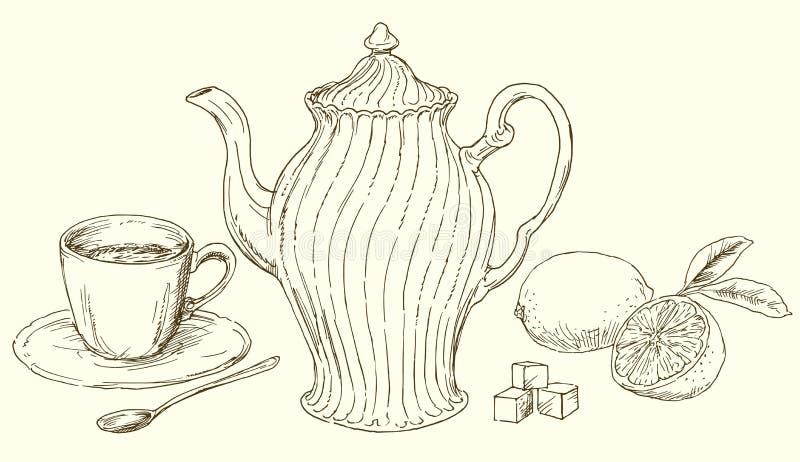 Винтажный чайник и чашка чаю с лимоном иллюстрация штока