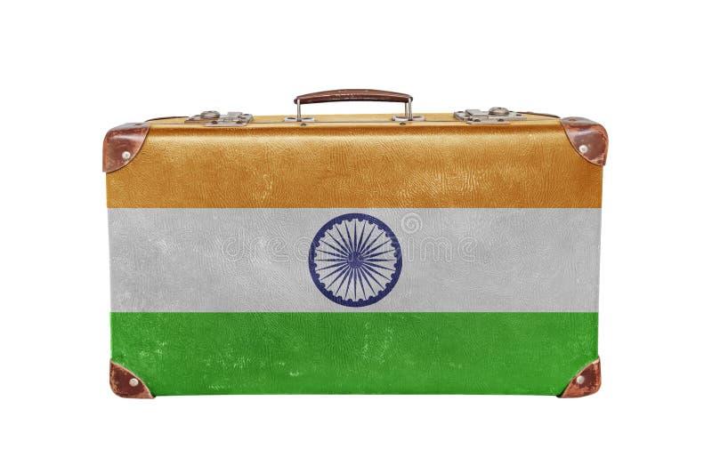 Винтажный чемодан с флагом Индии стоковое изображение rf