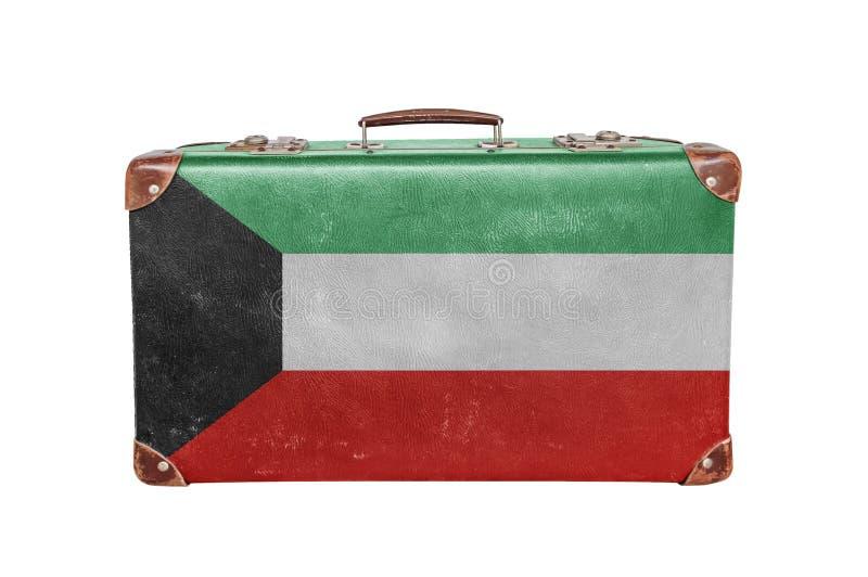 Винтажный чемодан с флагом Кувейта стоковые изображения