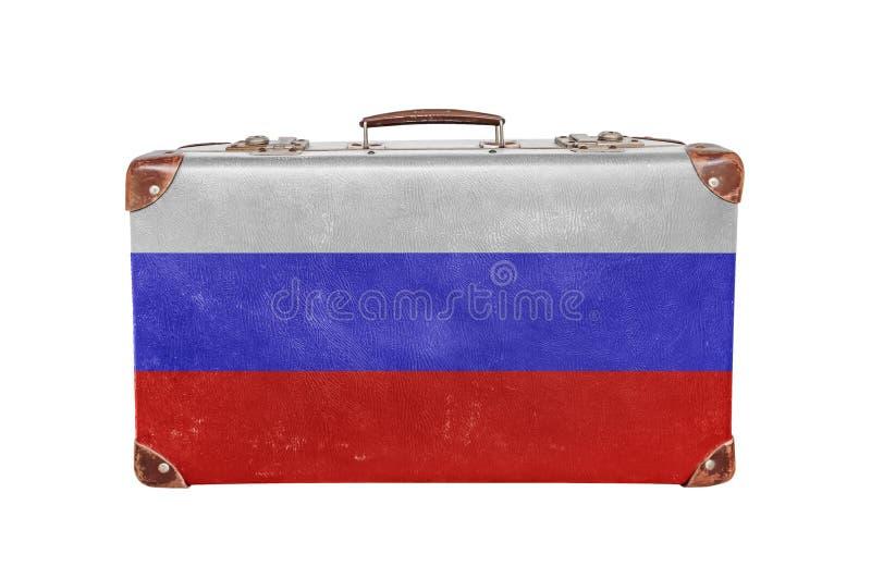 Винтажный чемодан с флагом России стоковая фотография