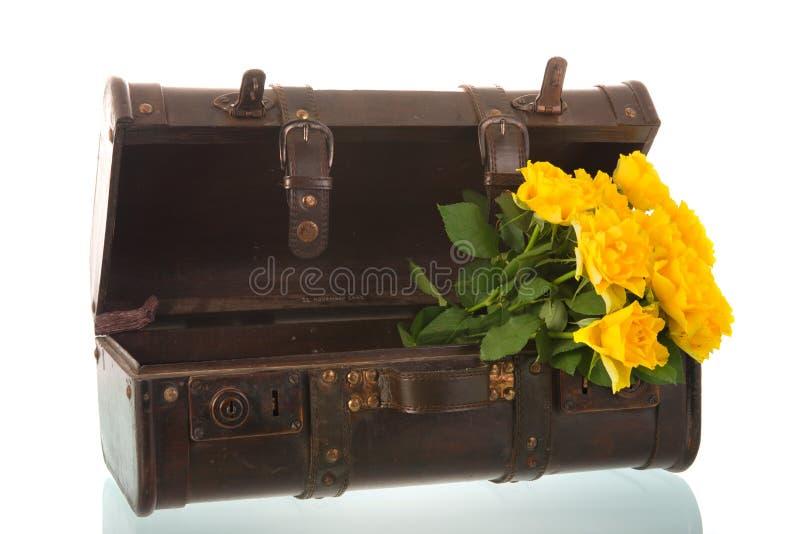 Винтажный чемодан с цветками стоковое изображение rf