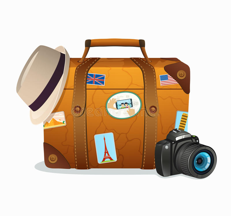 Винтажный чемодан перемещения с тиккерами со всего мира иллюстрация штока