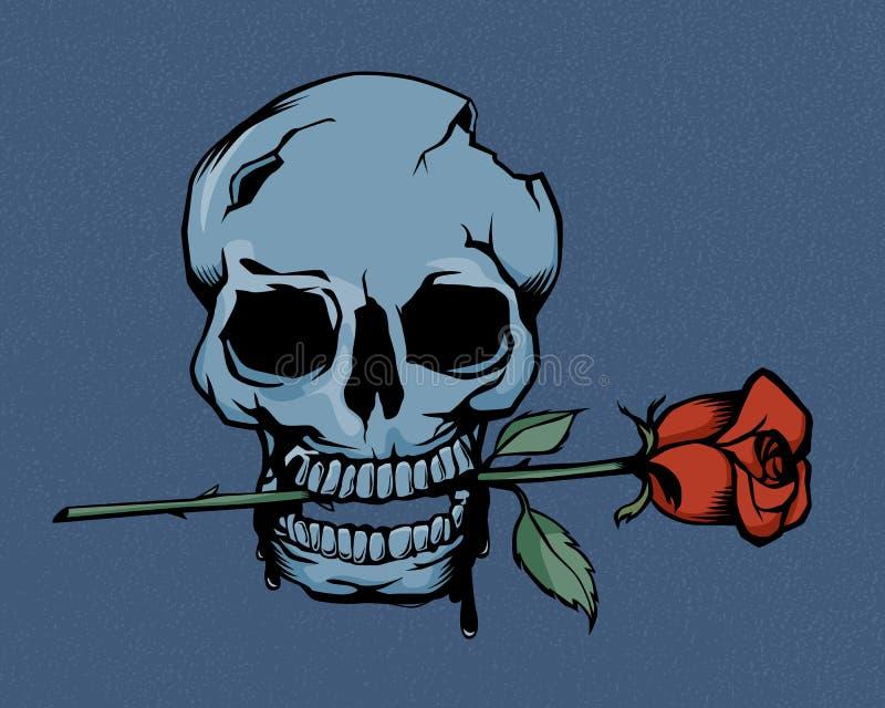 Винтажный череп и розы иллюстрация вектора