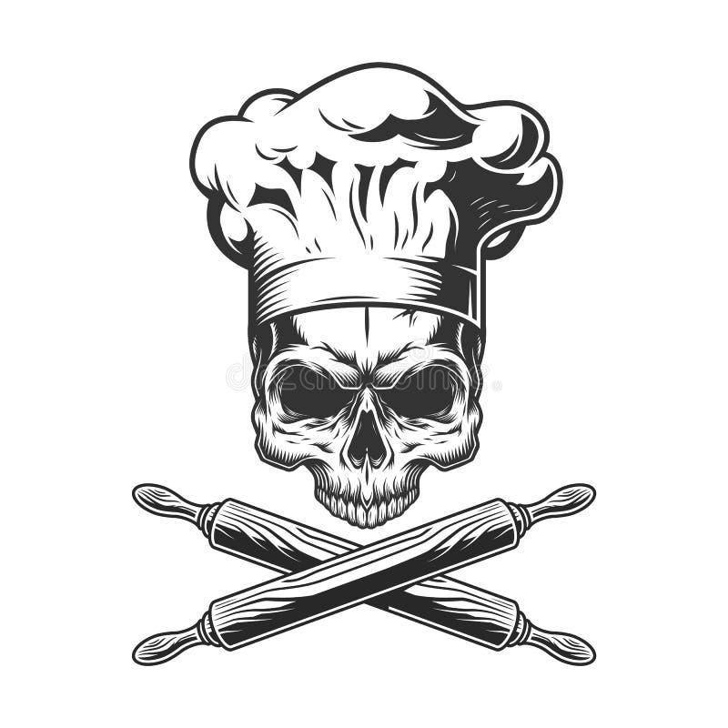 Винтажный череп шеф-повара без челюсти бесплатная иллюстрация