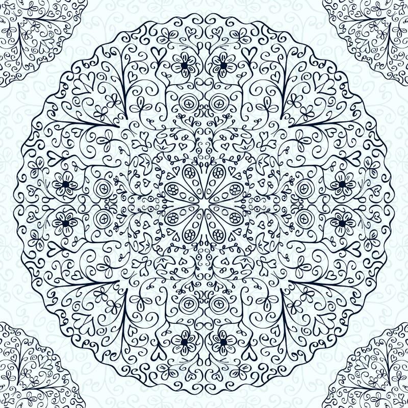 Винтажный черный белый абстрактный орнамент украшения иллюстрация вектора