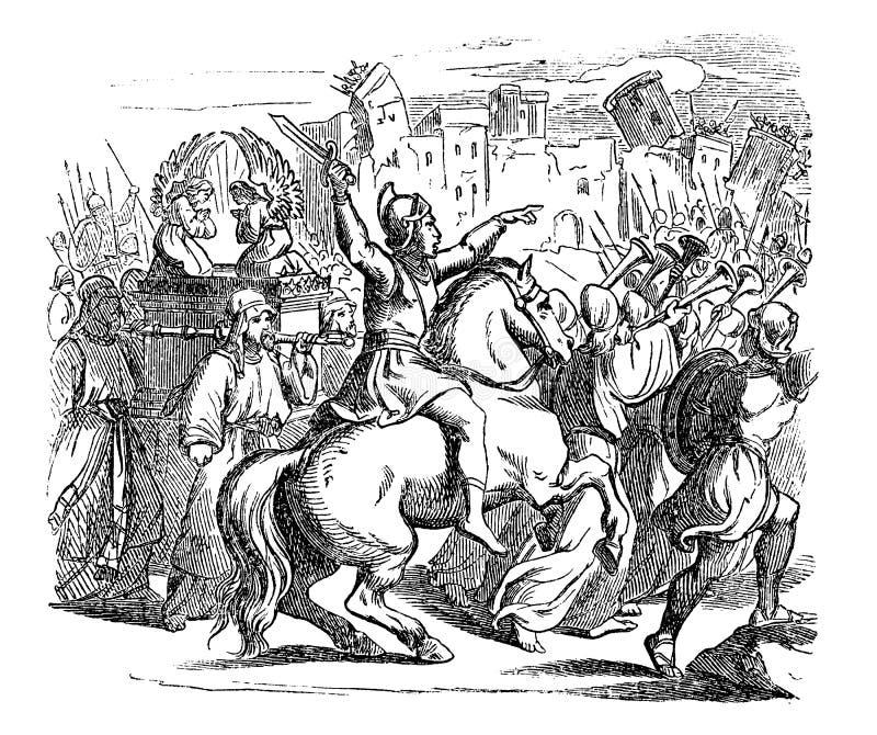 Винтажный чертеж библейского рассказа израильтян атакуя город Иерихона иллюстрация штока