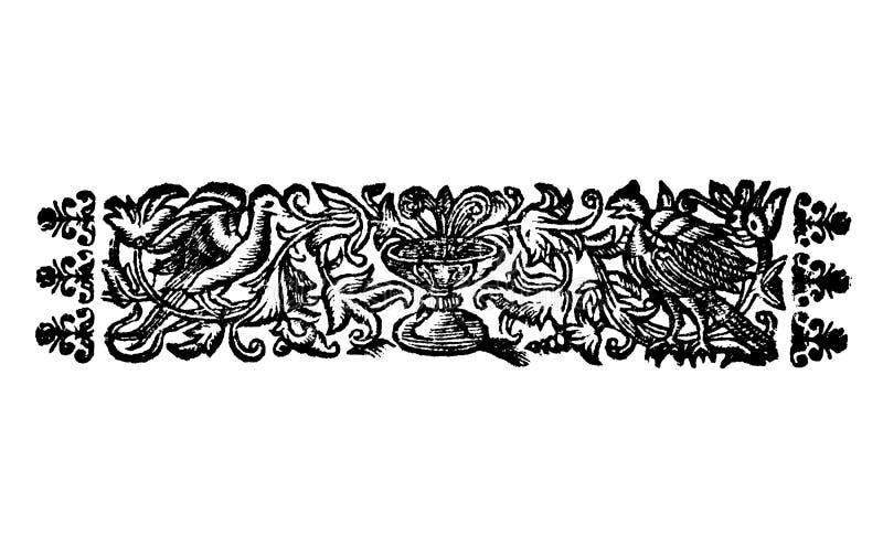 Винтажный чертеж вектора или гравировать античного флористического дизайна украшения 2 птиц и кубка или Святых Граалей иллюстрация штока