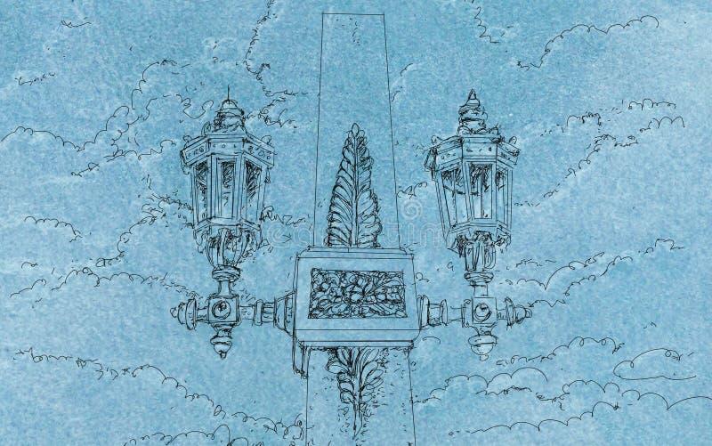Винтажный чертеж иллюстрации фонарика с облаками иллюстрация штока
