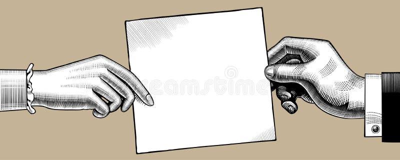 Винтажный чертеж рук человека и женщины с бумажным листом иллюстрация штока