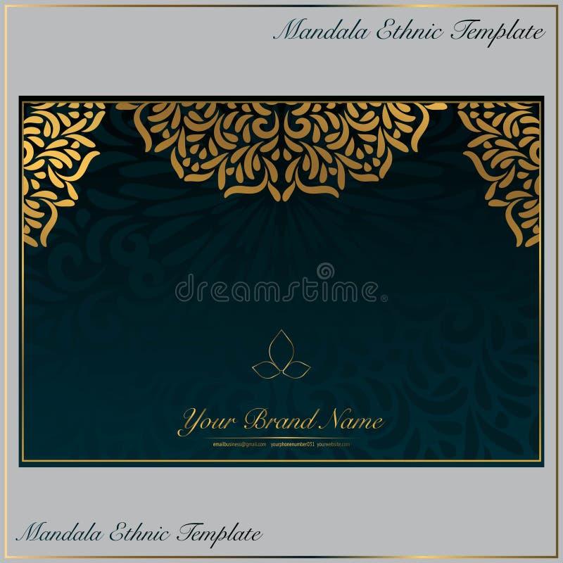 Винтажный шаблон визитной карточки с орнаментом мандалы золота иллюстрация вектора