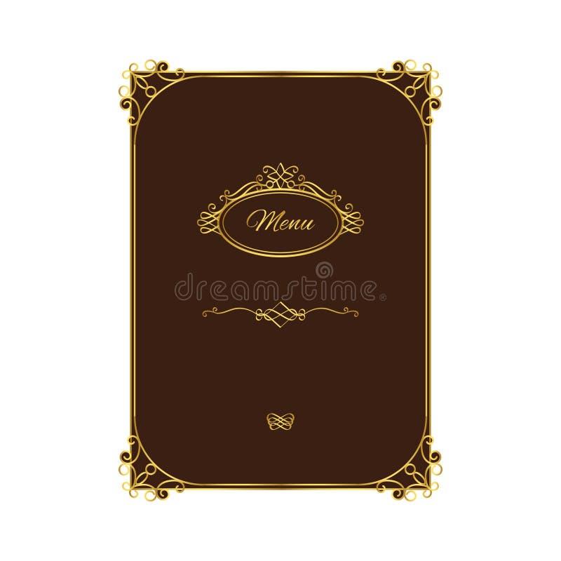Винтажный шаблон меню с элементами золота иллюстрация вектора
