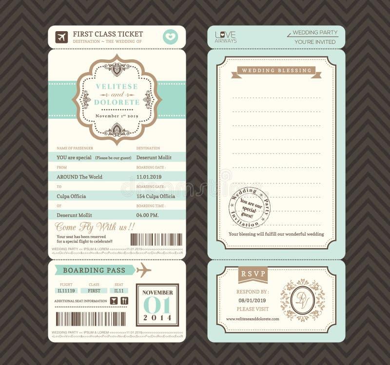 Винтажный шаблон приглашения свадьбы билета посадочного талона стиля бесплатная иллюстрация