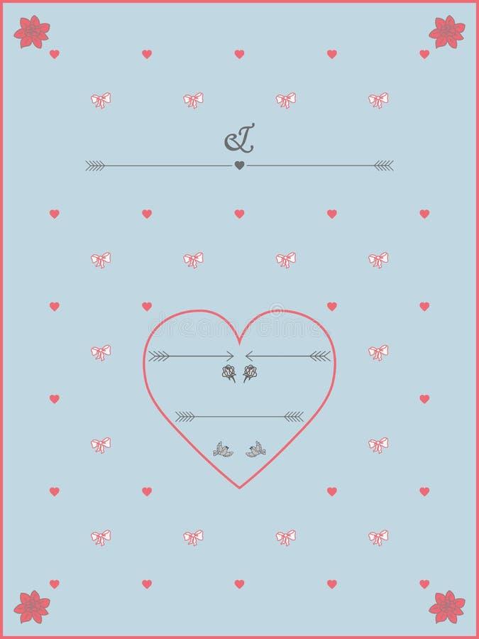 Винтажный шаблон приглашения свадьбы стиля иллюстрация вектора