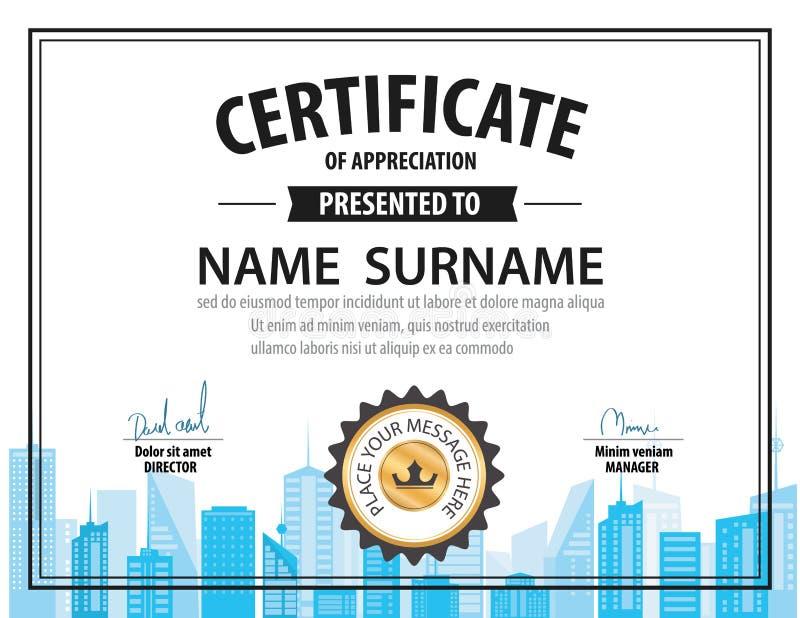 Винтажный шаблон сертификата, диплом, размер письма, положение иллюстрация штока
