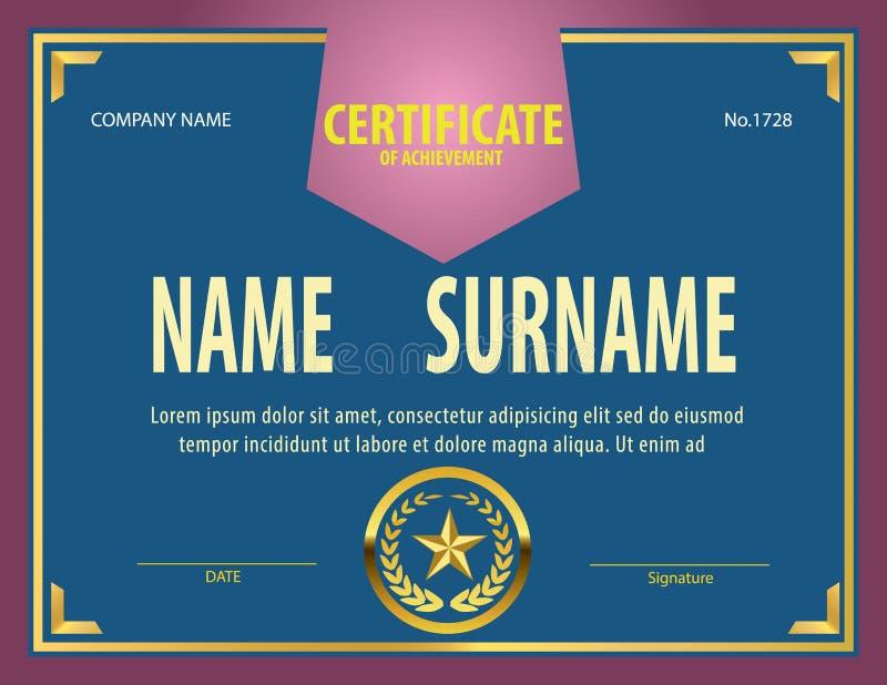 Винтажный шаблон сертификата, диплом, размер письма иллюстрация вектора