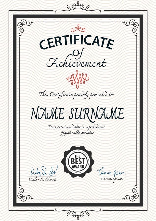 Винтажный шаблон сертификата стиля Арт Деко бесплатная иллюстрация
