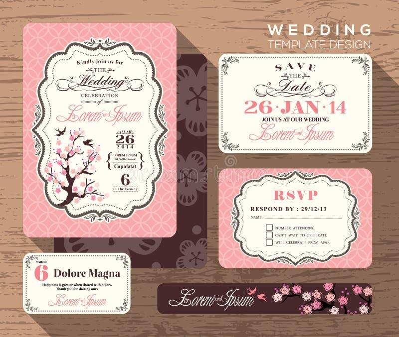 Винтажный шаблон установленного дизайна приглашения свадьбы иллюстрация вектора